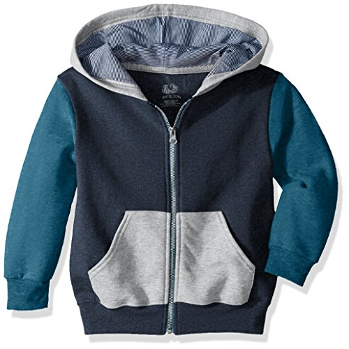Fruit of the Loom Boys' Big Fleece Explorer Collection, Zip Hoodie - Blue/Teal, Small