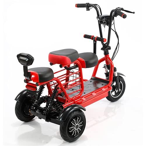 ZYW Ultralight Electric Three-Wheel Scooter 700W Doual Drive Dobling Motoccycle 48V15A Ion de Litio Adecuado para 55 km de Antiguo/Adulto Scooter de Viaje al Aire Libre,Rojo