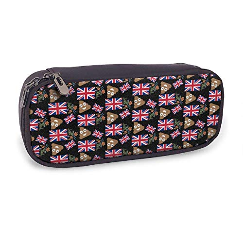 Ahdyr Pencil Case Big Capacity Makeup Pen Pouch Bag Leather Durable Students Stationery Organizer for School Office United Kingdom Flag and Popo Flower