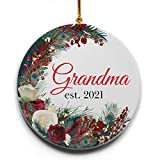 Grandma est. 2021 Wreath Ceramic Christmas Tree Ornament Collectible Holiday Keepsake 2.875' Round Ornament in Decorative Gift Box, New Grandparents Gifts! Gifts for Grandparents
