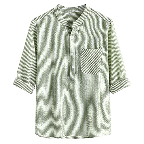 Soolike Camisa de Verano para Hombre Camiseta de Algodón y Lino para...