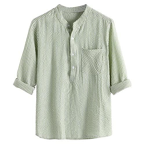TUDUZ Camisetas Hombre Manga Corta Camisas de Algodón y Lino a Rayas Botón con Bolsillo Superior Top Ropa de Cuello V(A Verde,M)
