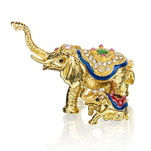 YU FENG Elephant Jewelry Trinket Boxes Hinged Mother & Child Elephant Figurines Gifts