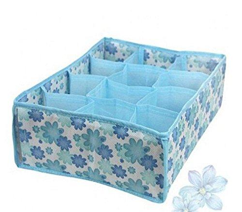 W&X - Cajas de almacenamiento de 12 celdas, para corbatas, calcetines, sujetador, ropa interior, separador, cajón, armario con tapa, organizador para el hogar, ropa interior, color azul