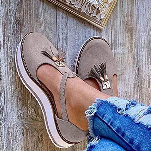 Dames Platte espadrilles Dames Plateau & Sleehak Sandalen Leren sandaal Gesloten teen Gesp Schoenen Gesp Enkelband Casual Strand Sneakers,Gray,41