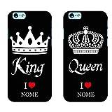 Ku Coppia Cover King Queen Love per iPhone in TPU Morbida Nera Idea Regalo FIDANZATI San Valentino...