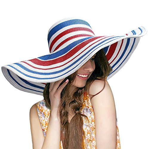 HooYL Beach Sun Hat - Womens Adjustable Striped Straw Floppy Bucket Summer...