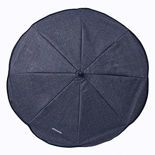 Gesslein Sonnenschirm Design 821 mit Universalhalterung von, Sonnenschutz für Kinderwagen & Buggys│70cm Durchmesser, biegsam, 3-fach verstellbar, für Rund- und Ovalrohre, dunkelblau meliert