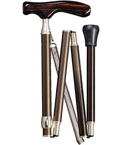 Gastrock edler Gehstock Faltstock Samurai Fritzgriff aus Ebenholz, höhenverstellbar, bronze