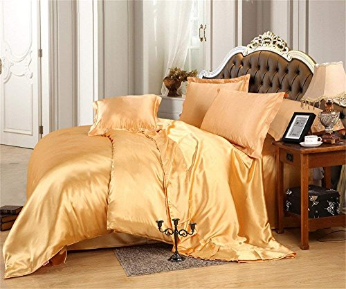 Bed Sheet Set - Silky Satin Luxury And Super Soft Solid Color - Wrinkle, Fade, Stain Resistant (1 Flat Sheet, 1 Fitted Sheet & 4 Pillowcases) 6 PCs Queen Size Sheet Set 15' Deep Pocket, Gold