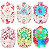 600 Pieces Spring Colorful Flowers Cupcake Liners Heart and Flowers Cupcake Baking Cups Petal Shaped Wrappers Wraps Muffin Case Trays for Mother's Day Father's Day Birthday Party Decoration