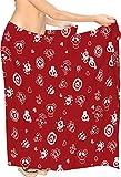 LA LEELA Piratas Calabaza Cráneo Disfraces De Halloween Mujeres de la Falda Pareo Mujer Playa Encubrimiento del Traje de baño Traje de baño Ropa de Playa bañar Pareo Mujer Playa Envoltura Rojo_B923