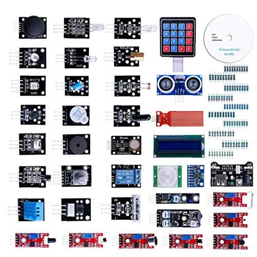 OMMO LEBEINDR Modul Sensor Kit Projekt Starter Kit Elektronische Bauelemente Set Basic Starter Kit Kompatibel mit UNO R3 37pcs für die Industrie