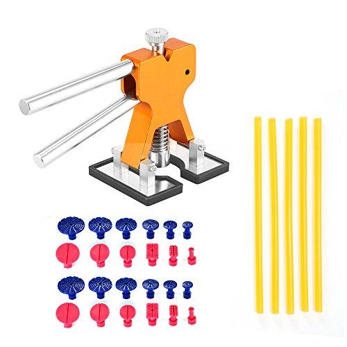 Konesky PDR Dent Repair Kit, Dent Reparatur-Werkzeuge Set Aluminium-Legierung Edelstahl Dent Puller Golden Dent Lifter Dent Removal Kit mit 24pcs Kleber Tabs und 5pcs Klebestift
