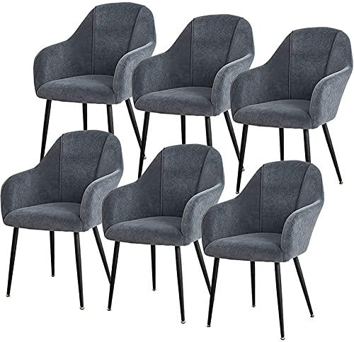 VEESYV Samt Esszimmerstühle 6er Set Mit Metallbeinen Samt Sitz Und Rückenlehnen Für Office Lounge Dining Kitchen Schlafzimmer (Farbe : Grey)