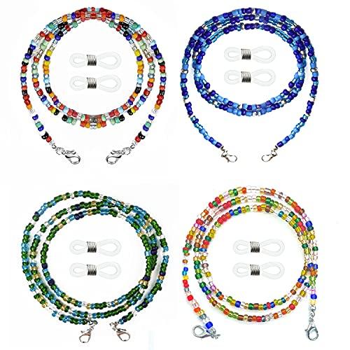 4 Piezas Cordón para Gafas, Collar con Cuentas Soporte de anteojos, una cómoda cadena de vidrio con un clip, Cordón Correa de Cuello de Cubierta de Cara Portátil, adecuado para Hombres y mujeres