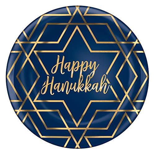 'Happy Hanukkah' Blue Geometric Plastic Plates, 10.5' - 10 Pcs.