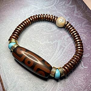 Cakunmik Universal-Armband mit neun Augen-Dzi-Kokosnuss-Muschel-Armband-Dzi-poliertes Rohe Pearl-Armband für Männer und Frauen,B