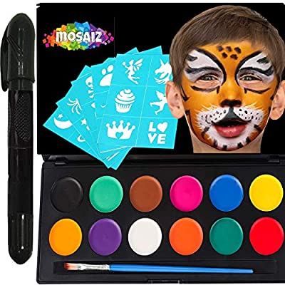Non-Grease Face Paint Kit for Kids and Adults - 12 Colors Face Painting Palette Bonus 30 Stencils, Brush and Pen - Birthday Gift for Girls, Halloween Makeup Body Paint, Facepaint Party Supplies