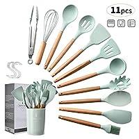 set utensili da cucina,utensili cucina in silicone, manico in legno duro utensili da cucina termoresistenti professionali resistente al calore e antiaderente strumento di cottura (12 pezzi)green