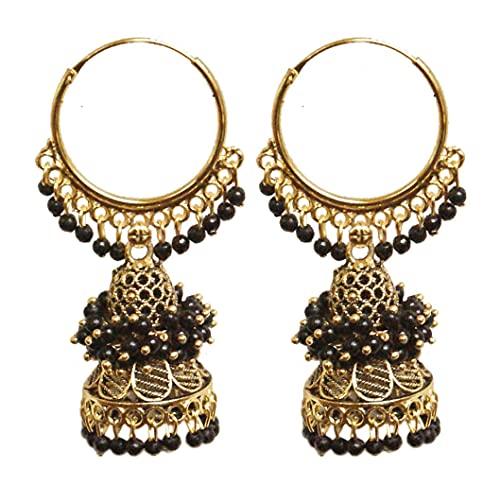 Pahal Ethnic Bollywood Jaipur - Pendientes de aro de oro largo con perlas pintadas en forma de jhumka, diseño de jhumki, para mujer