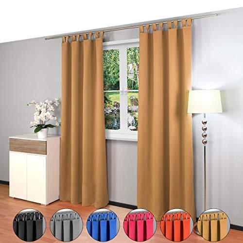 2 piezas Gräfenstayn® Alana - cortina térmica opaca monocromática que oscurece la cortina con bucles - Paquete Doble - 135 x 245 cm (ancho x alto) - muchos colores atractivos (Beige)