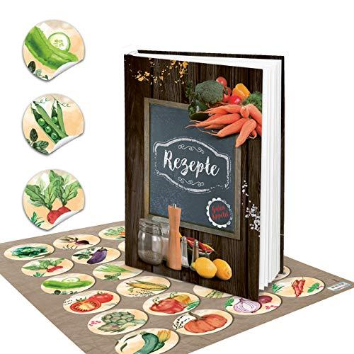 Logboek-uitgeverij set XXL receptenboek om zelf te schrijven, DIN A5, eigen recepten hout-look, leisteen tafel kruiden, 24 stickers groenten, kleurrijk aquarel kookboek leeg geschenk DIY