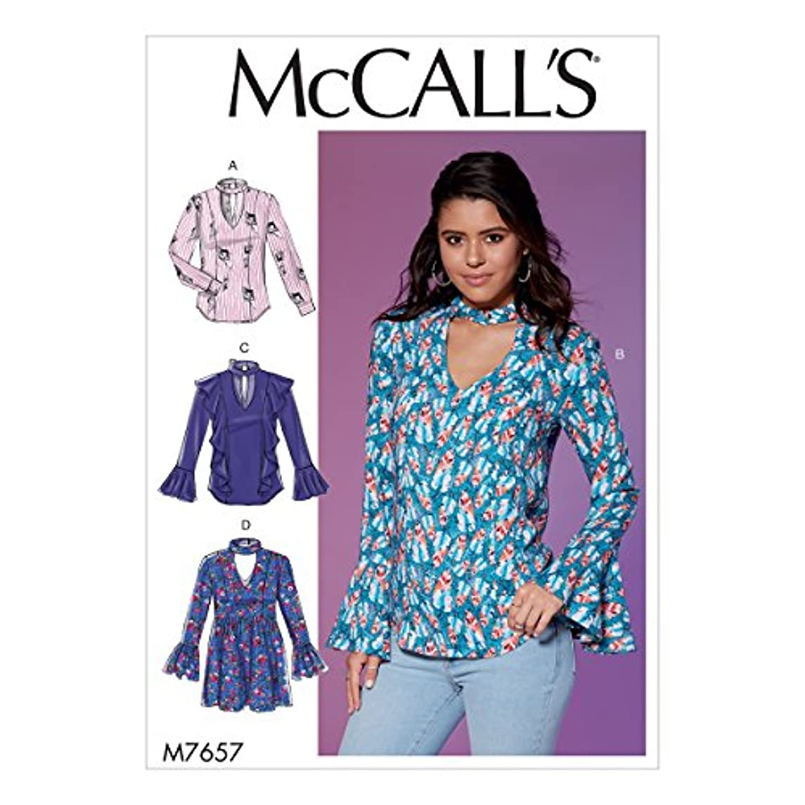 McCall's Patterns M7657A50 Misses' Tops and Tunic with Banded V-Neck and Ruffle Options