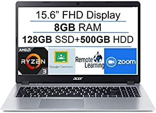 Acer Aspire 5 15.6インチ FHD 1080P ノートパソコン コンピューター AMD Ryzen 3 3200U 最大3.5GHz(ビートi5-7200u)| 8GB RAM | 128GB SSD+500GB HDD| バッ...