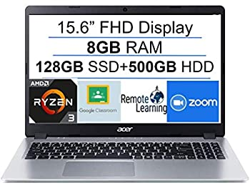 2020 Newest Acer Aspire 5 15.6  FHD 1080P Laptop Computer  AMD Ryzen 3 3200U up to 3.5 GHz Beat i5-7200u   8GB RAM  128GB SSD+500GB HDD  Backlit KB  WiFi  Bluetooth  HDMI  Windows 10  Laser USB Cable