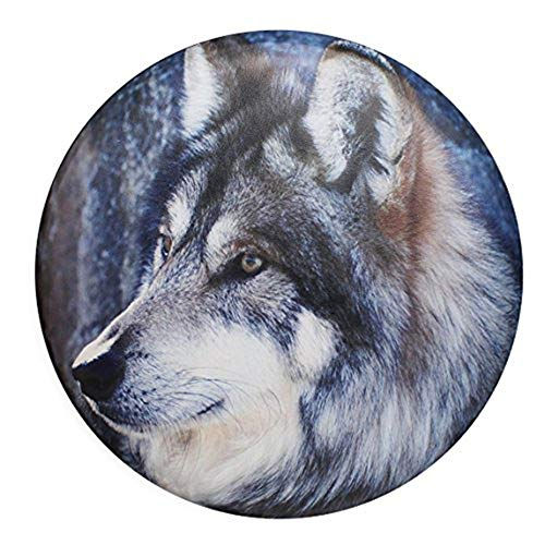 sofu Spare Tire Cover, Wheel Cover with Wolf PVC Leather Waterproof Dust-Proof Universal Fit for Jeep,Trailer, RV, SUV, Camper and Vehicle (15' for Diameter 27'-29')
