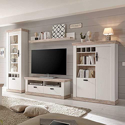 Preisvergleich Produktbild Pharao24 TV Anbauwand in Kiefer Weiß skandinavischen Landhausstil LED Beleuchtung Energieeffizienzklasse LED