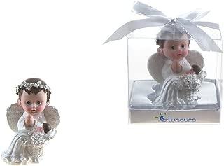 "Lunaura Religious Keepsake - Set of 12 ""Boy"" Baby Angel in White Praying Next to Infant Favors - Blue"
