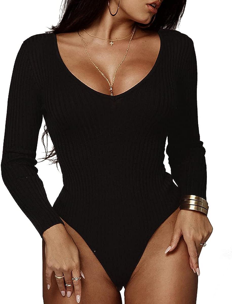 Bodysuit Tank Tops for Women Long Sleeve Deep V Neck Bodycon Stretch Jumpsuit Bodysuit Tops