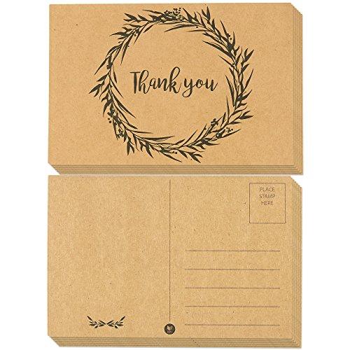 Best Paper Greetings Blumen Dankeschön-Postkarten (Kraftpapier mit Versandseite) 60-Packung (10 x 15 cm) Mehrfarbig