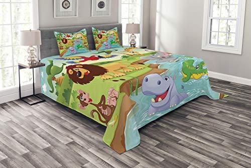 ABAKUHAUS Enfants Couvre-Lit, Animaux de Safari, Technologie numérique la Plus Moderne, 264 x 220 cm, Multicolore