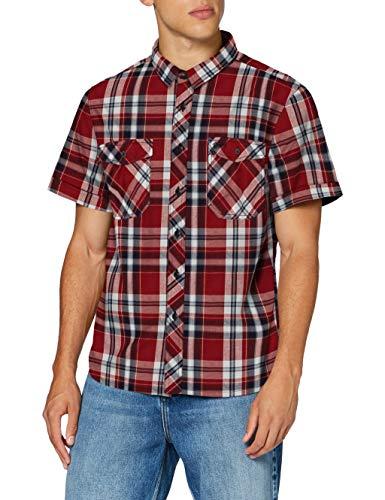 Brandit Herren Roadstar Shirt Hemd, Rot/Schwarz/Weiß, XXL