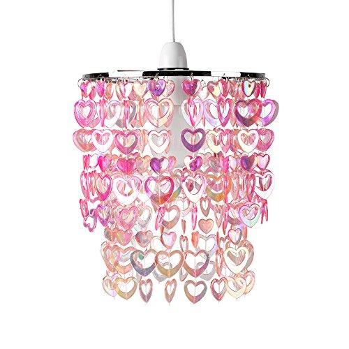 MiniSun Abat Jour Moderne Pour Suspension. Cadre en Acier Chromé Décoré avec Perles et Cœurs en Rose Iridescent. Adapte Pour Douilles de 42 mm et de 28 mm.