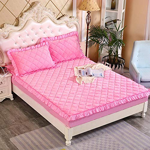 GTWOZNB Extra Deep Fitted Bed Sheet Hotel Quality Fitted Bed Sheets Winter solid color velvet bed sheet thick-pink 228_180*220cm