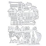 2 pezzi Fustella modello di taglio a forma di casa zucca ragnatela fantasma taglio goffratura stencil fustelle per Halloween fai da te scrapbooking carte di carta arti mestieri decorazione
