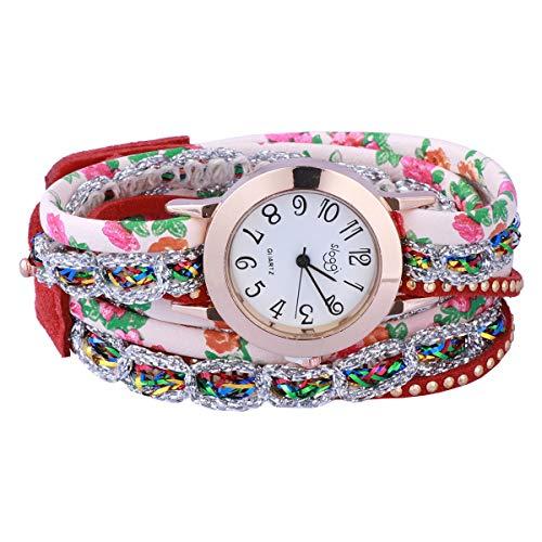 Relógio de pulso de quartzo feminino com pulseira de relógio de quartzo prateado cor doce (vermelho)