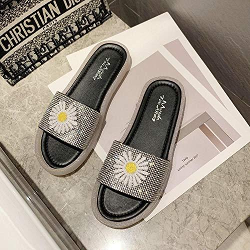 LJJYF Zapatillas de Mujer Zapatillas de Zapatillas para Damas Zapatillas de Piso en Sala de otoño e Invierno,Chanclas de crisantemo Zapatillas de Verano Planas para Mujer-Black_EU38