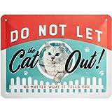 Nostalgic-Art Cartel de Chapa Retro Do Not Let The Cat out – Idea de Regalo para dueños de Gatos, metálico, Diseño Vintage para decoración, 15 x 20 cm