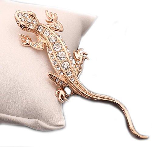 GuDeKe Lagartija Animal Diamonds Retro Shirt Corsage Broche y Pin para Mujer (Oro)