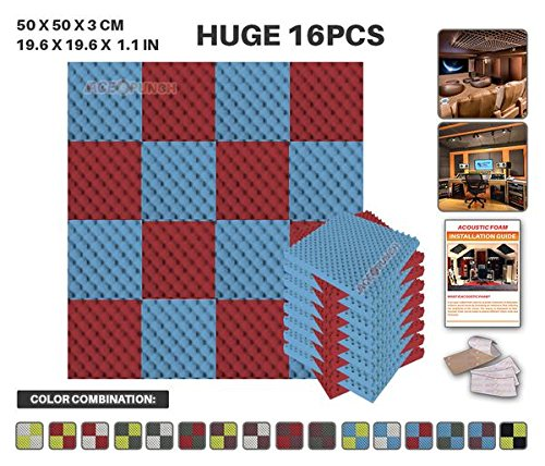 Acepunch 16 Paquet 2 Combinaison de Couleurs Bleu ET Rouge Alveolee Mousse Acoustique Panneau Insonorisation Sonorisation Absorbeur Traitement avec Ruban Adhesif 50 x 50 x 3 cm AP1052