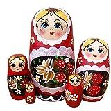 QIFFIY muñeca Rusa Muñecas de anidación Rusa Matryoshka Madera Stacking Set anidado Juego de 5 Piezas Juguetes Hechos a Mano para Navidad Decoración de cumpleaños Regalo Matryoshka