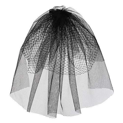CHIC DIARY Chapeau bibi pour femme, voile cage à oiseaux, pour mariée, fête, cocktail, voile de mariage - Noir - Taille Unique