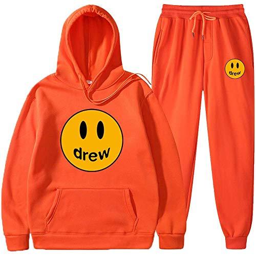 Drew House Hoodie and Sweatpants Set Bieber Smiley Face Hoodies Merch Couples Sweatshirt Sweater for Men Women Kids (Orange,L)