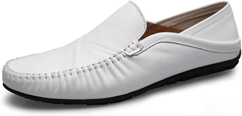 Jialun Schuhe, einfarbig, leicht, für Herren, Stiefel, Mokassins, Slip-On-Stil, echtes Leder, einfach, flexibel, atmungsaktiv, niedriges Oberteil, Wei - wei - Gre  39 EU
