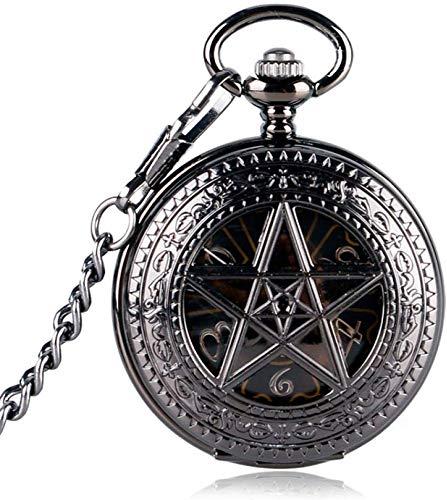 Taschen- und Armbanduhr Taschenuhr Schwarz Taschen-Uhr-Stunden-Hot TV-Serie Supernatural Pentagram Mechanischer Handwind Crown Muster Steampunk (Color : Black)